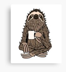 Bearded Coffee Sloth Canvas Print