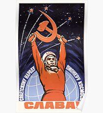 Sowjetische Raumfahrtpropaganda Poster