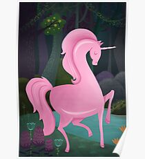 Enchanted Woodlands And A Pink Unicorn Poster