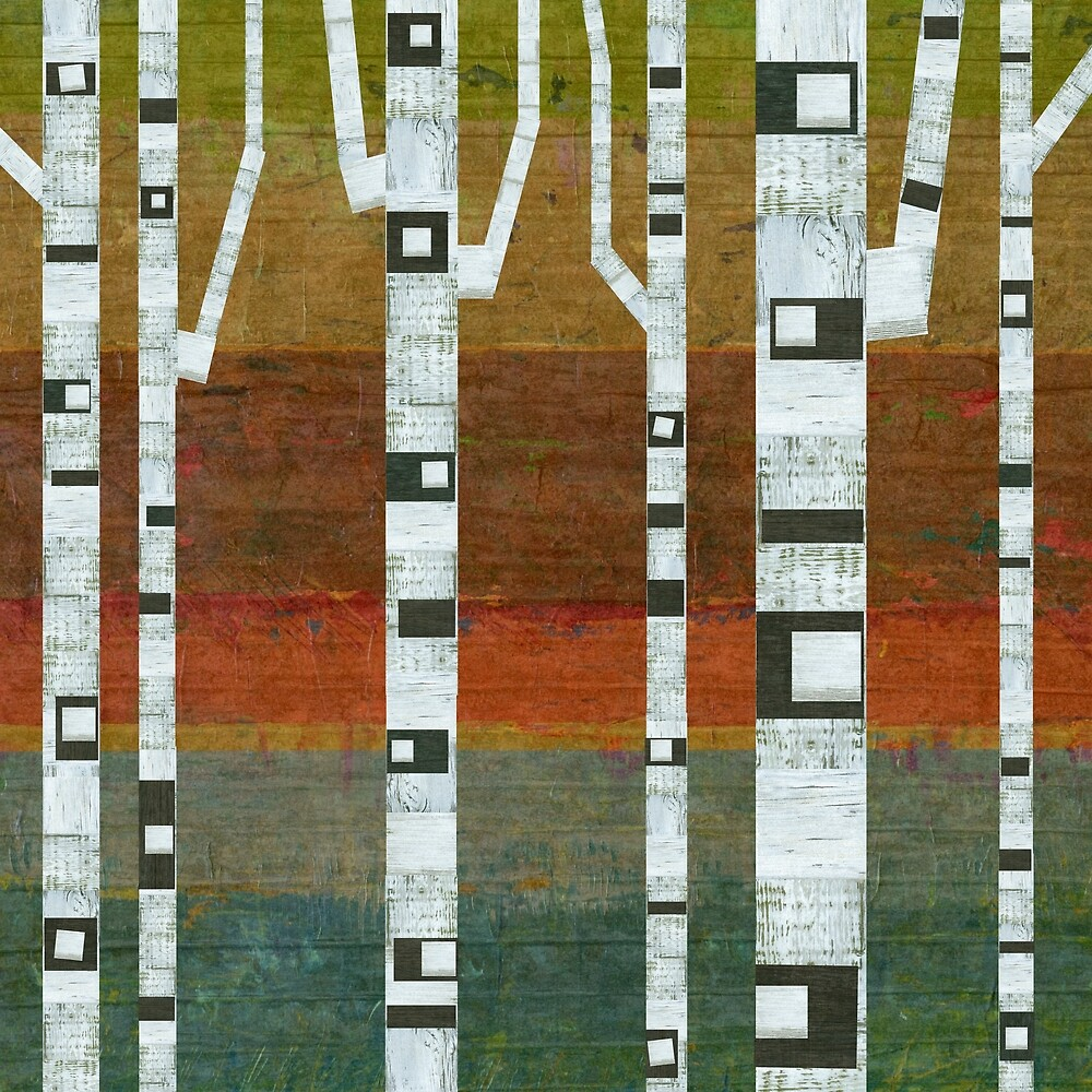 Birches with Blue and Orange by Michelle Calkins