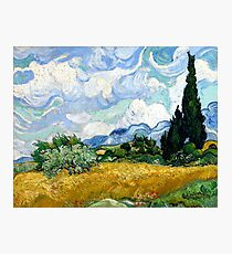 Wheat Field with Cypresses Photographic Print