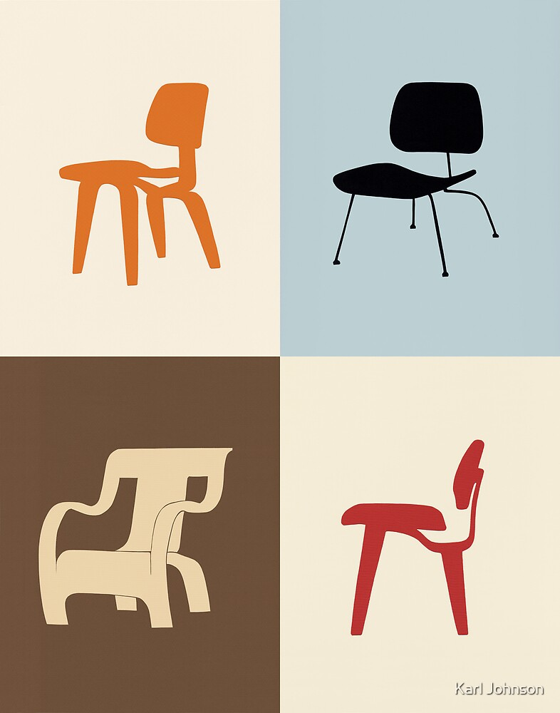 Contemporary chairs in silhouette by Karl Johnson