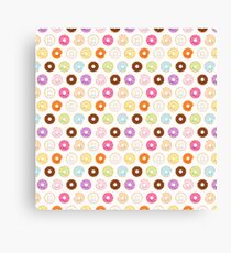 Happy Kawaii Donuts Pattern Canvas Print
