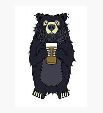 Black Bearded Beer Bear Photographic Print