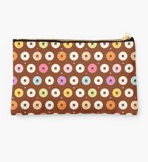 Colorful Donuts Pattern on brown Studio Pouch