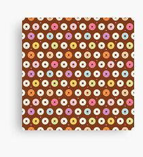 Colorful Donuts Pattern on brown Canvas Print