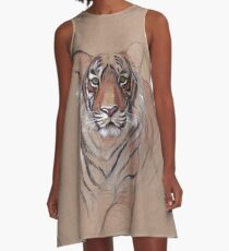 UNFINISHED BUSINESS - Original Tiger Drawing - Mixed Media (acrylic paint & pencil) A-Line Dress