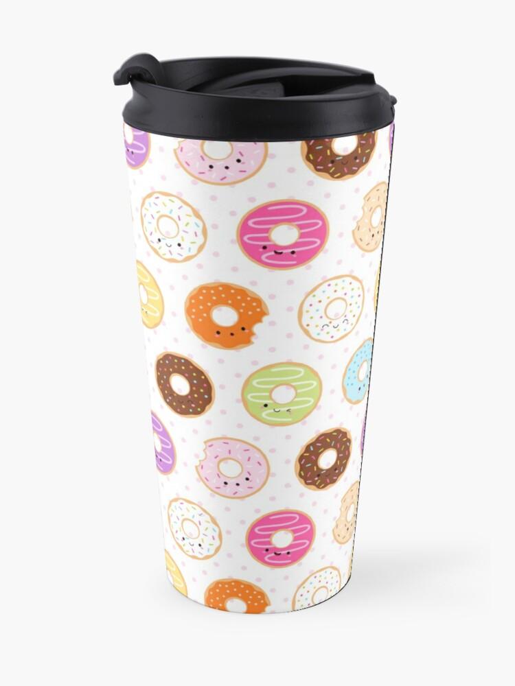 Alternate view of Happy Kawaii Donuts Pattern Travel Mug