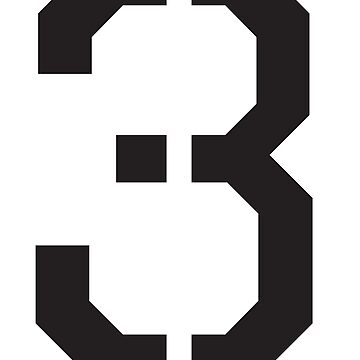 3, THREE, TEAM, SPORTS, STENCIL, NUMBER 3, THIRD, Competition, Tri,  Triple by TOMSREDBUBBLE