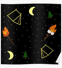 Campfire : Camping Outdoors Marshmallow Tent Design Poster