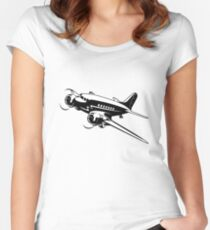 Cartoon Retro Airplane Women's Fitted Scoop T-Shirt