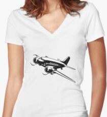 Cartoon Retro Airplane Women's Fitted V-Neck T-Shirt