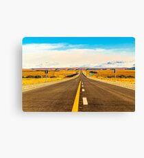 Empty Road at Patagonia Landscape Scene, Santa Cruz Argentina Canvas Print