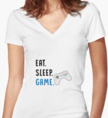 Eat Sleep Game - Girl Gamer Boy Gamer - PC Gamer, Console Gamer - Funny Gaming Gift Women's Fitted V-Neck T-Shirt
