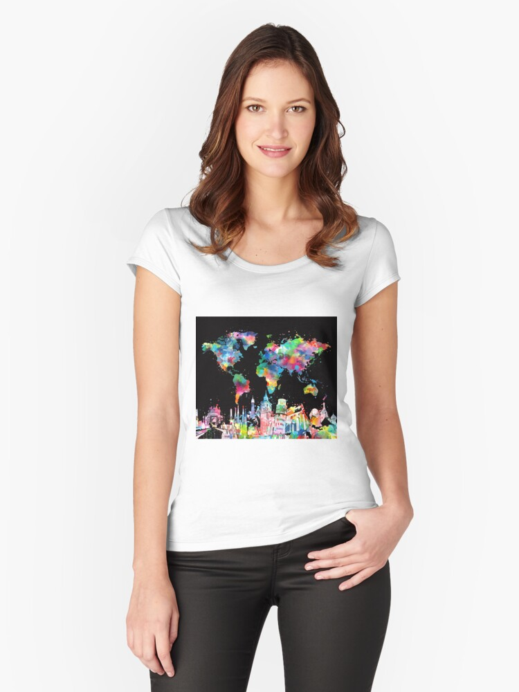 world map Women's Fitted Scoop T-Shirt Front