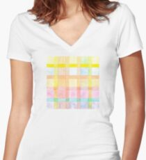 Pastel colored Watercolors Check Pattern  Women's Fitted V-Neck T-Shirt