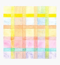 Pastel colored Watercolors Check Pattern  Photographic Print