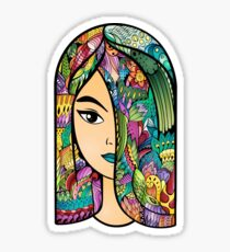 Girl With Colorful Hair Sticker