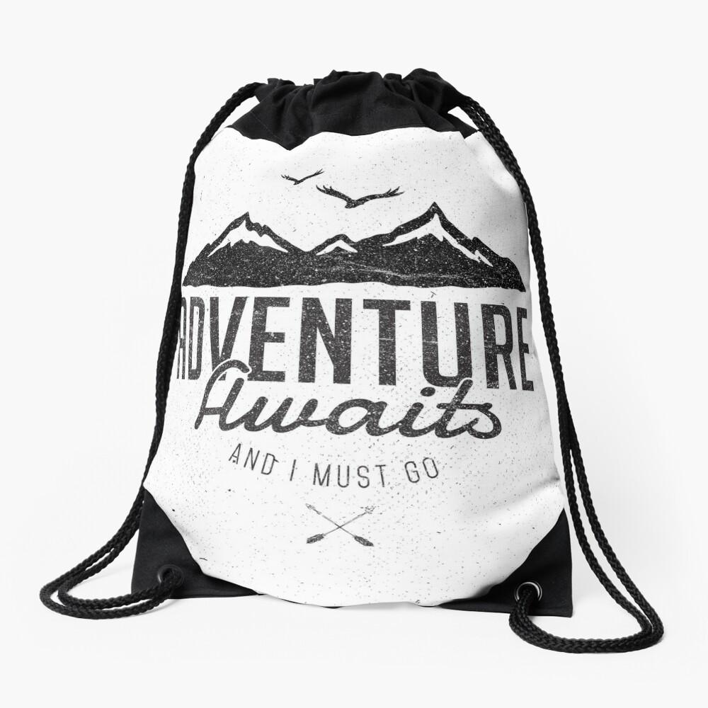 ADVENTURE AWAITS Drawstring Bag