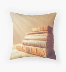 Old books and sunlight Throw Pillow