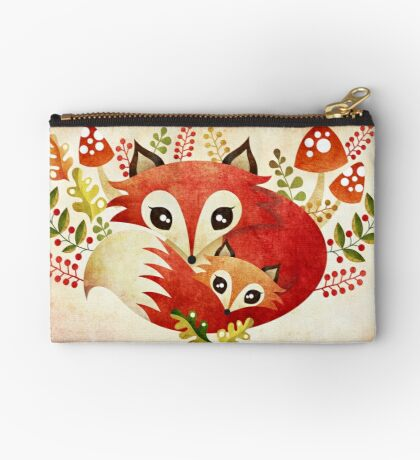 Fox Mom & Pup Zipper Pouch