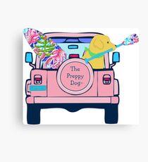 Preppy Pink Jeep Golden Retriever SUP Board Canvas Print