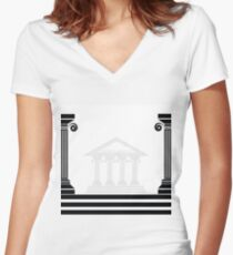greek columns Women's Fitted V-Neck T-Shirt