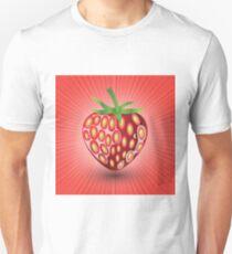 Fresh Strawberry Icon on Red Wave Blurred Background Unisex T-Shirt