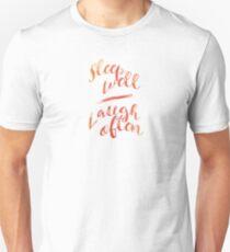 Sleep Well Laugh Often - peach/pink watercolor Unisex T-Shirt