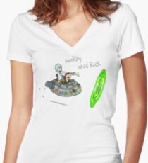 Morty and Rick Women's Fitted V-Neck T-Shirt