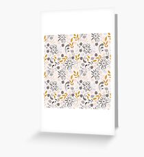 Seamless pattern design with little flowers, floral elements, birds Greeting Card