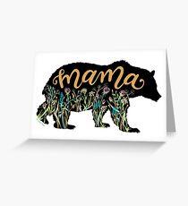 Tarjeta de felicitación Mamá oso con flores silvestres Ilustración con letras a mano
