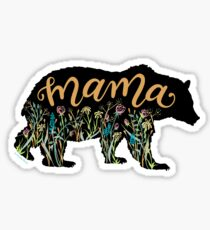 Mama Bear with Wildflowers Hand Lettered Illustration Sticker