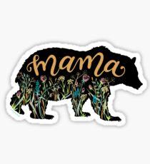 Pegatina Mamá oso con flores silvestres Ilustración con letras a mano