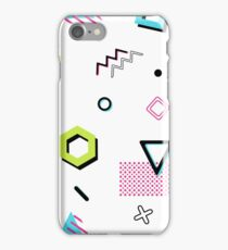 Memphis pattern with geometric elements iPhone Case/Skin