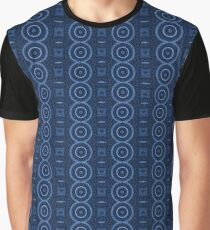 Circle, Square and Line Pattern Blue Graphic T-Shirt