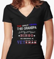 Grandpa Bingo Veteran Military Novelty Gift Shirt Women's Fitted V-Neck T-Shirt