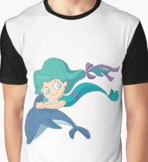 Little mermaid swimming with a dolphin Graphic T-Shirt