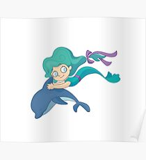 Little mermaid swimming with a dolphin Poster