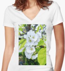 Apple Blossoms After Snow Women's Fitted V-Neck T-Shirt