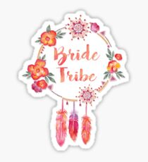 Bride Tribe Boho Chic Bohemian Flair Bright Floral Wreath Sticker