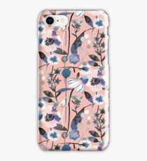 Pink pastel flowers pattern iPhone Case/Skin