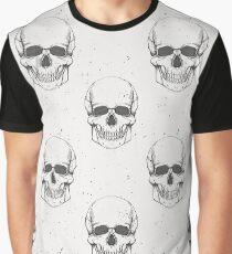 Grunge seamless pattern with human skulls Graphic T-Shirt