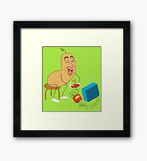 Peanut playing video games Framed Print