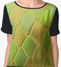 Green & Gold Snake Scales Chiffon Top