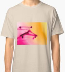 wood hanger with pink and orange wall background Classic T-Shirt