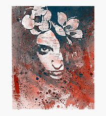 Red Hypothermia (graffiti spray paint art portrait with flowers) Photographic Print
