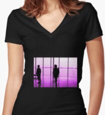 Purple with black shadowed people Women's Fitted V-Neck T-Shirt