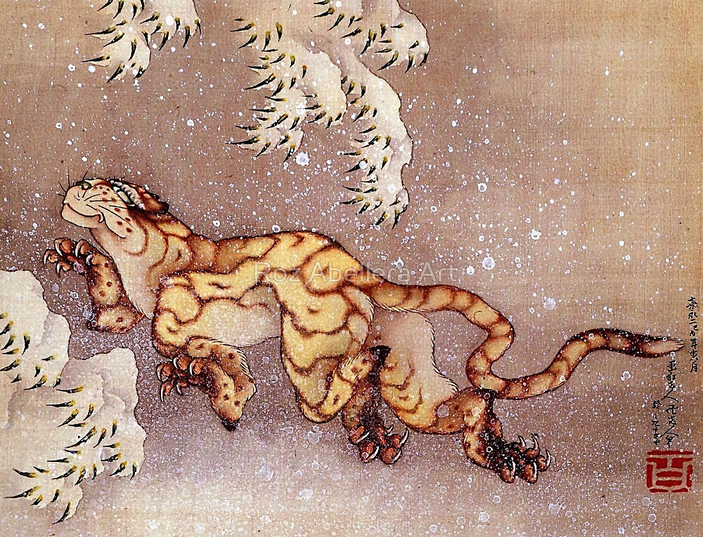 'Tiger in the Snow' by Katsushika Hokusai (Reproduction) by Roz Abellera