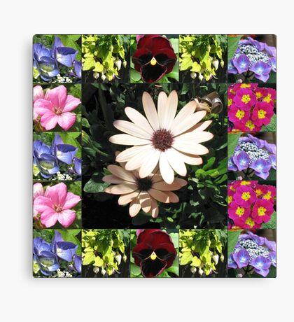 Bright and Beautiful - Floral Collage Leinwanddruck